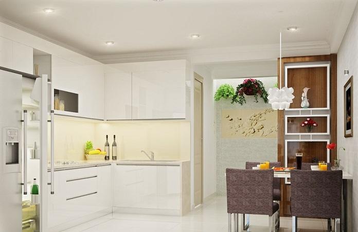 Bếp dựa lưng vào tường nhà vệ sinh