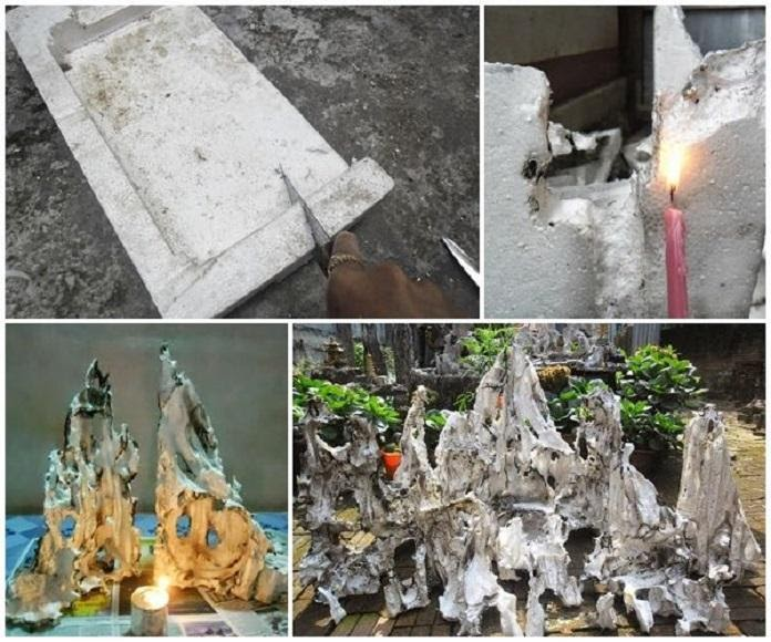Công đoạn đốt xốp để tạo nên những hình dáng giống ngọn núi tự nhiên, độc đáo